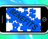 Benefits On Smartphone Shows Monetary Rewards And Bonuses — Stock Photo