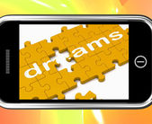 Dreams On Smartphone Showing Wishes — Stock Photo
