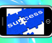 Success On Smartphone Shows Successful Solutions — Stock Photo