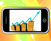 Arrow On Chart On Smartphone Shows Increase — Stock Photo