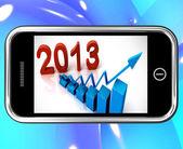 Estatísticas de 2013 em smartphone, mostrando a progressão futura — Foto Stock