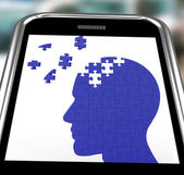 Head Puzzle On Smartphone Shows Smartness — Stock Photo