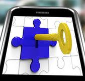 Key In Lock On Smartphone Showing Hidden Secrets — Stock Photo
