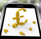 Pound Symbol On Smartphone Shows Britain Currency — Stock Photo