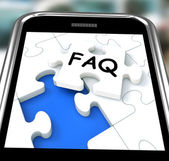 FAQ On Smartphone Showing Website's Questions — Stock Photo