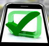 Check Mark On Smartphone Showing Approval — Stock Photo