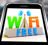 Wifi Free On Smartphone Showing WiFi Broadcasting Area — Stock Photo