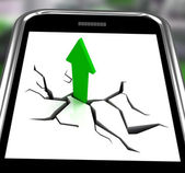 Arrow Going Up On Smartphone Showing Increased Sales — Stock Photo