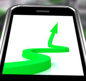 Arrow Pointing Up On Smartphone Showing Progression Report — Foto Stock