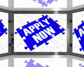 Apply Now On Screen Showing Job Recruitment — Stock Photo