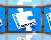 Atendimento ao cliente na tela mostrando o suporte ao cliente — Foto Stock