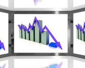 Falling Arrow On Screen Showing Decreasing Financial Chart — Stock Photo