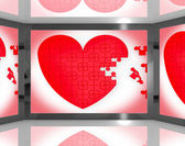 Puzzle Heart On Screen Showing Romantic Movies And Soap Operas — Stock Photo