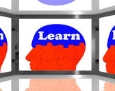 Learn On Brain On Screen Showing Educational TV Shows — Stock Photo