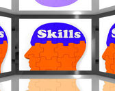 Skills On Brain On Screen Showing Human Competences — Stock Photo