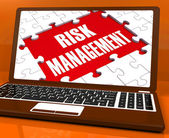 Risk Management On Laptop Showing Risky Analysis — Stock Photo