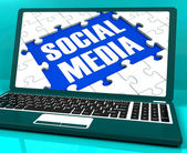 Social Media On Laptop Showing Online Communities — Stock Photo