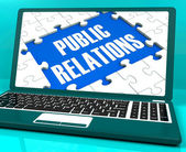 Public Relations On Laptop Shows Online Press — Stock Photo