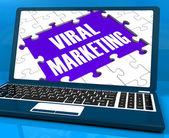 Viral Marketing On Laptop Shows Social Media Advertisement — Stock Photo