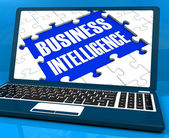 Business Intelligence On Laptop Showing Collecting Client Inform — Stock Photo