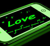 Love On Smartphone Showing Romantic Text Messages — Stock Photo