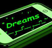 Marzenia na smartphone wykazuje aspiracje — Zdjęcie stockowe