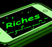 Riches On Smartphone Showing Wealth — Stock Photo