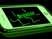 Organize On Smartphone Shows Contacts Organizing — Stock Photo