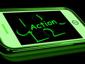 Action On Smartphone Shows Proactive Motivation — Stock Photo