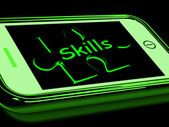 Skills On Smartphone Shows Abilities, And Talents — Stock Photo