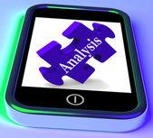 Analysis On Smartphone Shows Analyzing — Stock Photo