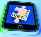 Diet Advice On Smartphone Showing Advisory Text Messages — Stock Photo