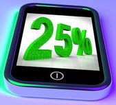 Twenty Five Percent On Smartphone Shows 25 Percent Off And Clearances — Stock Photo