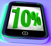 Ten Percent On Smartphone Showing Bargains And Reduced Prices — Stock Photo