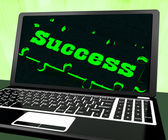 Success On Laptop Showing Solutions — Stock Photo