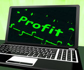 Profit On Laptop Shows Profitable Earns — Stock Photo