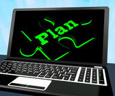 Plan Puzzle On Laptop Shows Missions — Stock Photo