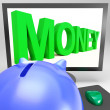 Money On Monitor Showing Prosperity — Stock Photo