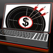 Foto de Stock  : Dollar Symbol On Laptop Showing Investments
