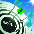 Success On Dartboard Showing Accomplished Progress - Stock Photo