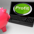 Stock Photo: Profit Button On Laptop Shows Financial Growth