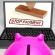 Stop Payment Stamp On Laptop Showing Rejected - Stockfoto