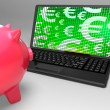 Euro Symbols On Laptop Showing European Finances — Stock Photo
