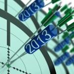 2013 Accurate Dart Target Shows Successful Future — Stock Photo