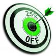 25 Percent Off Shows Reduction In Price - Stock Photo