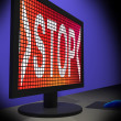 Stock Photo: Stop On Monitor Showing Denying
