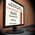 Internet Marketing On Monitor Showing Emarketing Confusion — Stock Photo