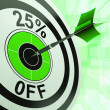 Stock Photo: 25 Percent Off Shows Percentage Reduction On Price