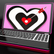 Target Heart On Laptop Showing Passion — Stock Photo