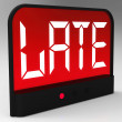 Stock Photo: Late Message On Clock Shows Tardiness And Lateness